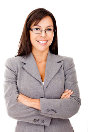 Business woman smiling with arms crossed - isolated over white  Stock Photo - 12393869