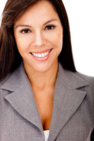 Beautiful businesswoman smiling - isolated over a white background Stock Photo - 12393866