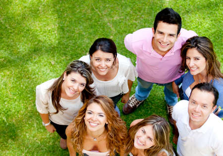Group of young people smiling at the park  Stock Photo - 12393849