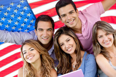 bilingual: Group of people with the USA flag - American youth concepts