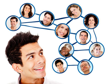 networking people: Man looking to his social network  - isolated over a white background