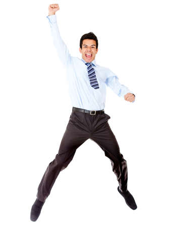 Successful businessman jumping - isolated over a white background Stock Photo - 12393911