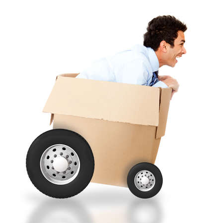 Man in a cardboard box for an express delivery - isolated over white photo