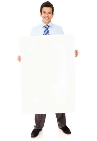 Businessman holding a banner - isolated over a white background Stock Photo - 12393906