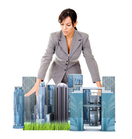 Female architect with a model - isolated over a white background photo