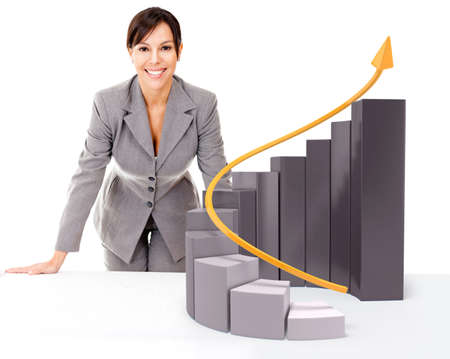 result: Successful businesswoman with  growth graph - isolated over a white background