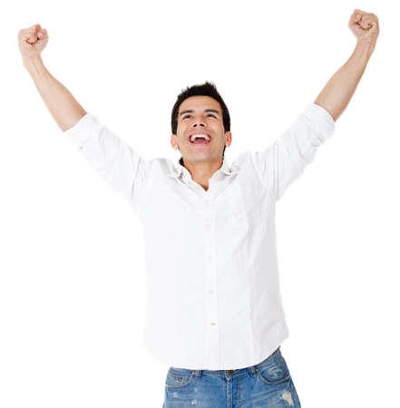uomo felice: Uomo di successo con le braccia aperte - isolato su uno sfondo bianco