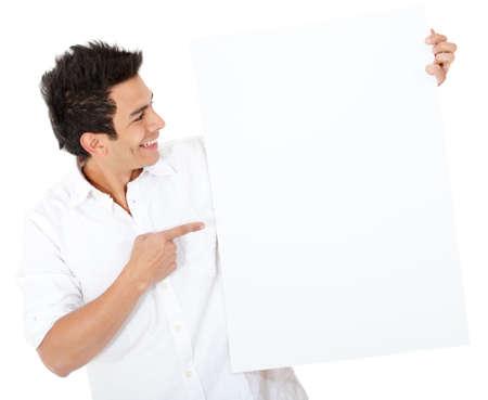 pont: Alkalmi férfi mutatott egy banner - elszigetelt, mint egy fehér háttér