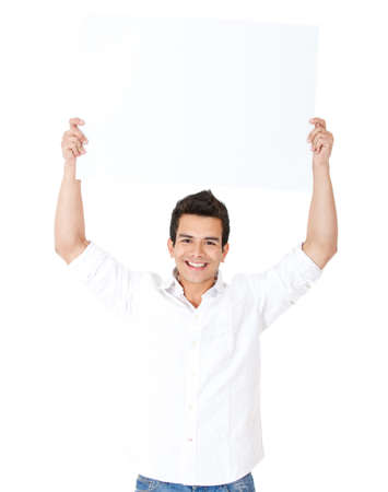 Happy man lifting a banner - isolated over a white background photo