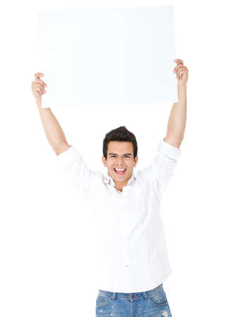 Excited man lifting a banner - isolated over a white background  photo