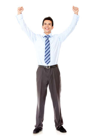Successful businessman celebrating with arms up - isolated over a white background Stock Photo - 12393987