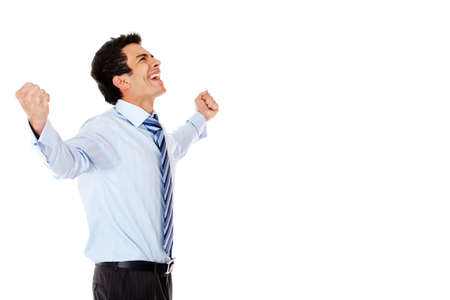 Successful businessman celebrating with arms up - isolated over a white background  photo