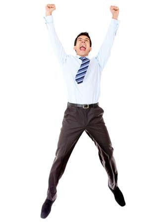 personas saltando: Emocionado de negocios la celebraci�n y saltar - aislados en un fondo blanco