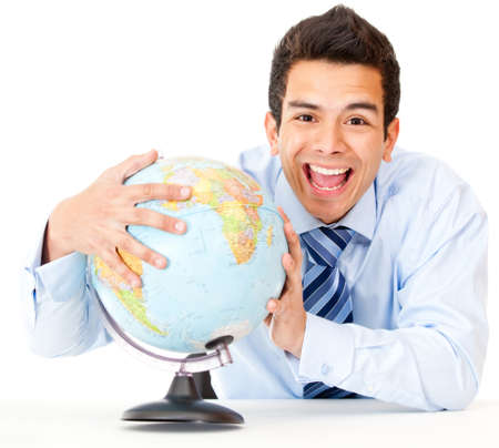 Man happy with his global business - isolated over a white background photo