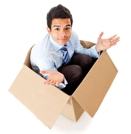 Man in a box looking frustrated for a failed delivery - isolated photo