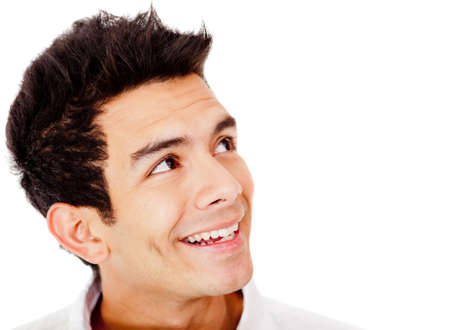 smiling faces: Man looking to the side - isolated over a white background