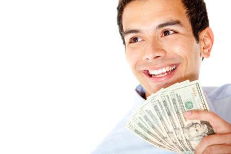 salarios: Feliz hombre de negocios con el dinero - aislado sobre un fondo blanco