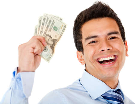 wages: Successful businessman holding dollars - isolated over a white background