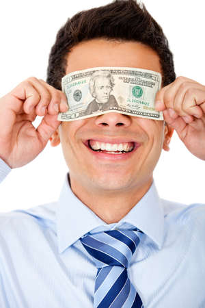 blinded: Business man blinded by the money - isolated over a white background Stock Photo