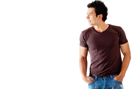 see side: Casual man looking to the side - isolated over a white background