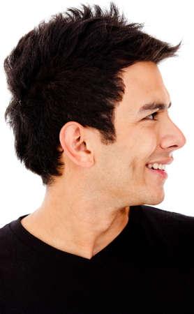 hombre de perfil: Perfil de hombre joven - aislado sobre un fondo blanco