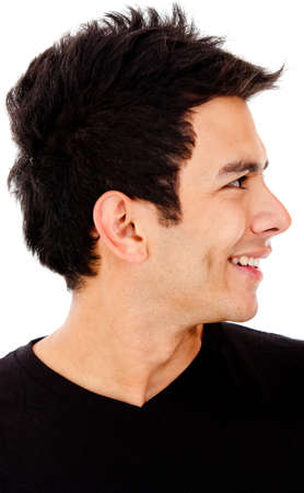 profile face: Young man profile - isolated over a white background