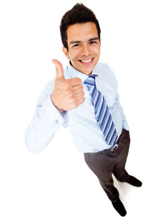 Businessman with thumbs up - isolated over a white background Stock Photo - 12620101