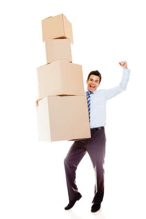 Businessman moving office and carrying boxes - isolated over a white background photo