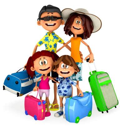 viaje familia: Familia 3D ir de vacaciones - aislados en un fondo blanco Foto de archivo