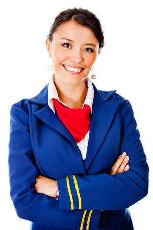Flight attendant smiling - isolated over a white background photo