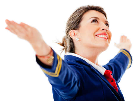 air hostess: Flight attendant with arms open - isolated over a white background Stock Photo