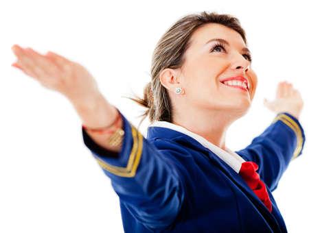 air hostess: H�tesse de l'air � bras ouverts - isol� sur un fond blanc