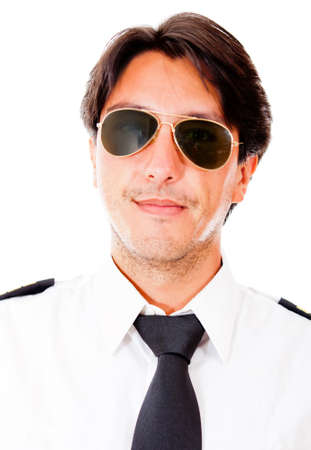 Male pilot with sunglasses - isolated over a white background photo