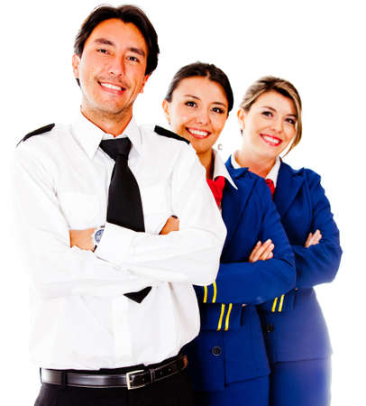air hostess: Friendly cabin crew smiling – isolated over a white background Stock Photo