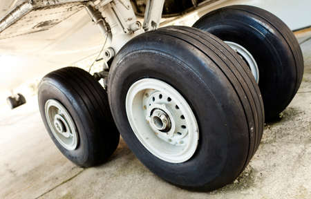 Close up of an airplane undercarriage or landing gear  photo