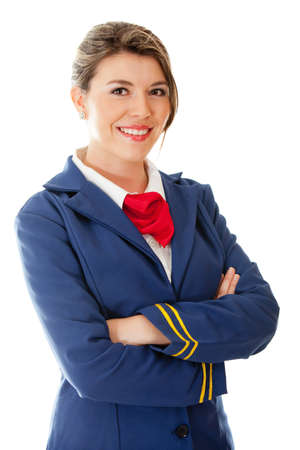 Beautiful flight attendant smiling - isolated over a white background photo