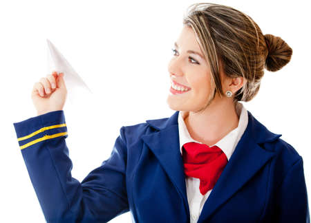 air hostess: Stewardess holding a paper airplane - isolated over a white background