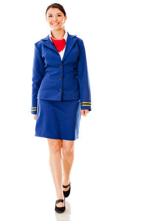 air hostess: Flight attendant walking - isolated over a white background