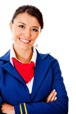 air hostess: Beautiful flight attendant smiling - isolated over a white background Stock Photo
