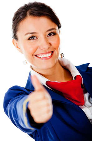 air hostess: Happy flight attendant with thumbs up - isolated over a white background Stock Photo