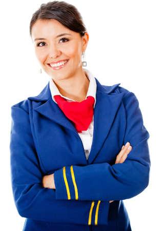 air hostess: H�tesse de l'air magnifique sourire - isol� sur un fond blanc Banque d'images
