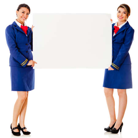 air crew: Flight attendants holding a banner ad – isolated over a white background