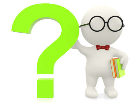 3D nerd with a question mark - isolated over a white background photo