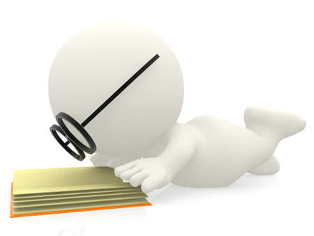 3D cartoon nerd reading a book Ð isolated over white background photo