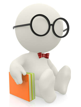 studious: 3D smart man or nerd with a book - isolated over a white background