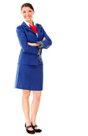 hotesse de l air: Debout Fullbody hôtesse de l'air isolé sur un fond blanc Banque d'images