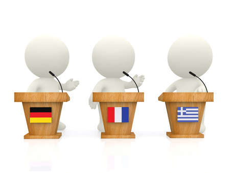 3D International forum with people from Greece, Germany and France - isolated over white  photo