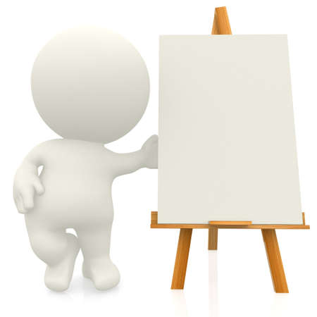 3D artist with canvas on a easel - isolated over a white background photo