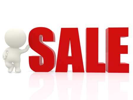3D man with word sale - isolated over a white background photo