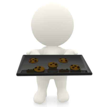 3D character making cookies - isolated over a white background photo